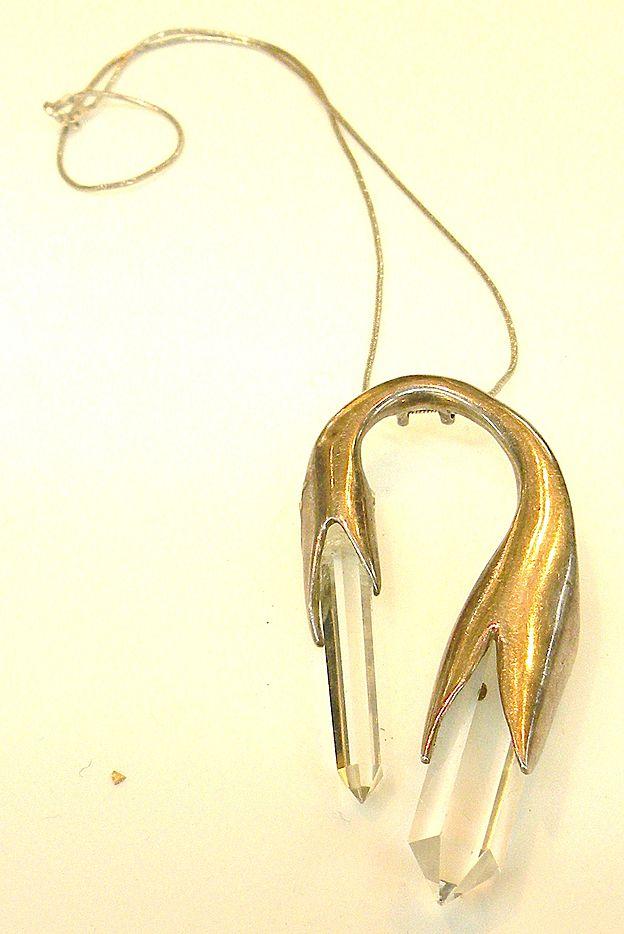 STERLING and Crystal Modernist Design Pendant Necklace