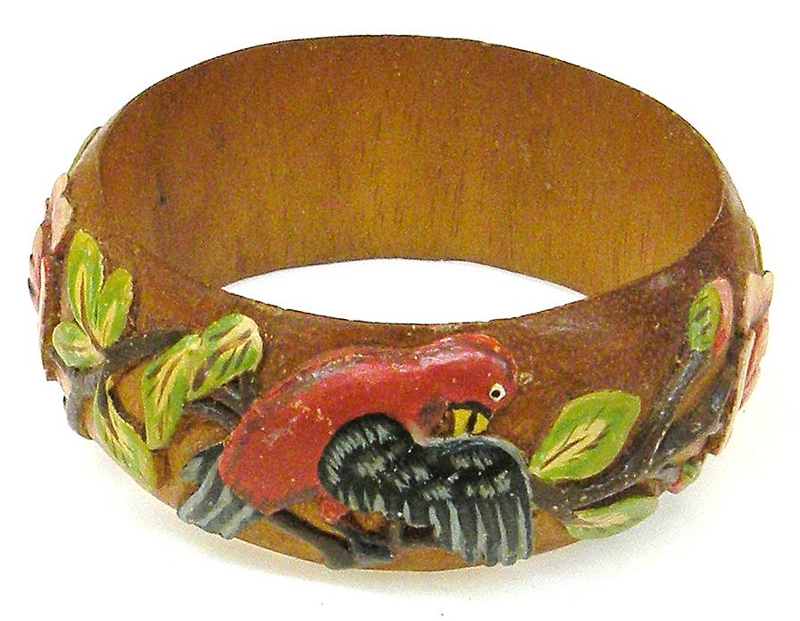 Wood Carved and Hand Painted 1940s Bangle Bracelet