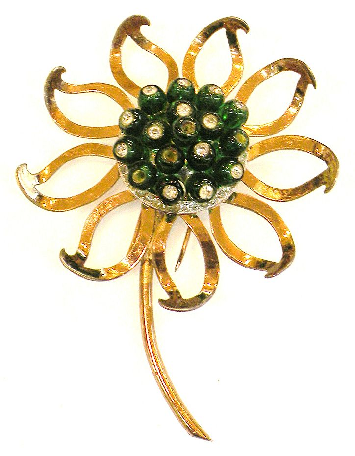 NETTIE ROSENSTEIN Sterling Green Button Rhinestone Center Rose Tone Giant Flower Brooch