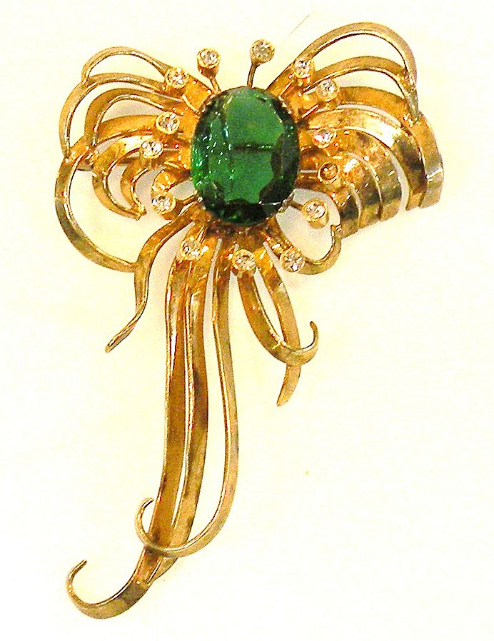 CASTLECLIFF Sterling Wild and Wonderful Green and Clear Drooping Rose Wash Brooch