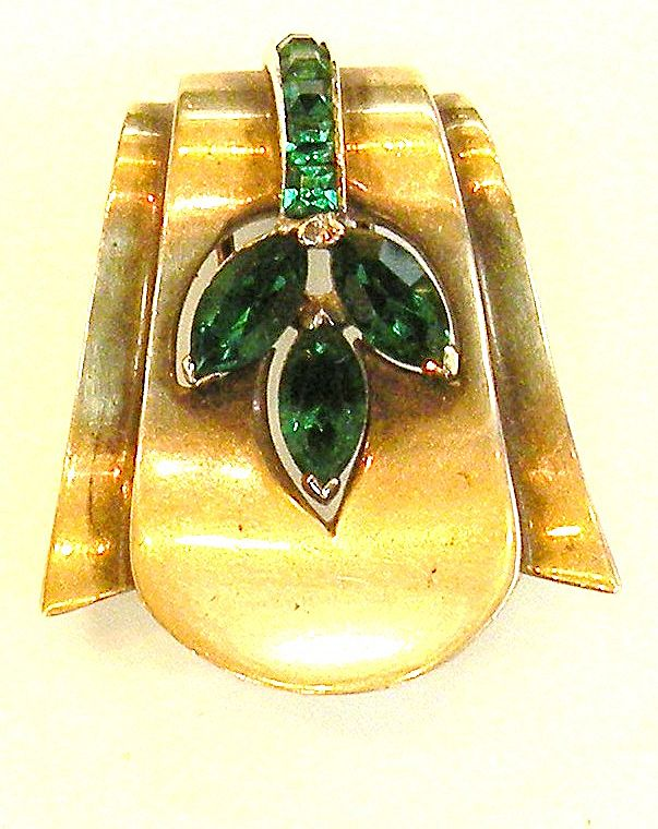 STERLING Art Deco Brass Tone and Green Rhinestone Clip Brooch