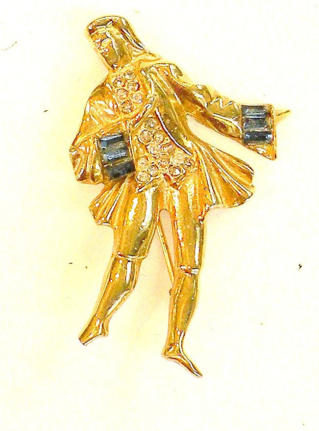 Waiting To Waltz Court Gentleman Brooch with Rhinestones