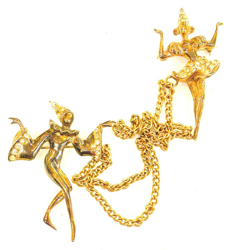 STERLING Male and Female Theatrical Dancer Chatelaine Brooch