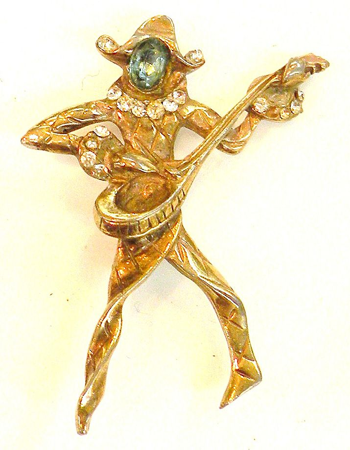 1940s Lyre Playing Jester Brooch with Aqua and Clear Rhinestones
