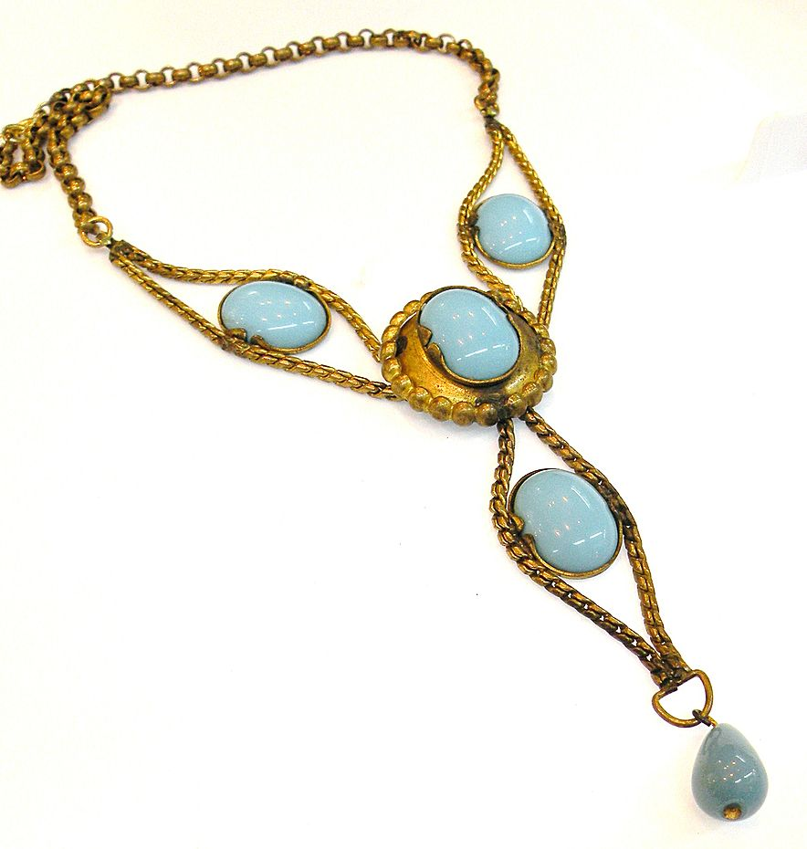 Brass Set Turq Cabochoned Festoon Drop Bib Necklace