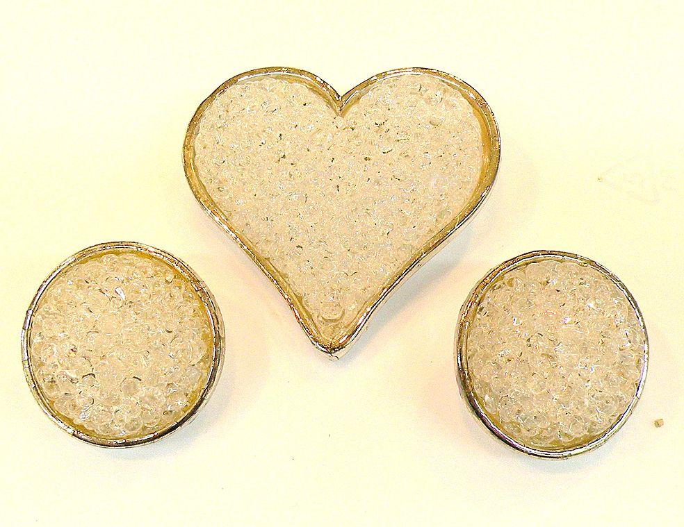 EDOUARD RAMBAUD Paris Crystal Rock Candy Heart Brooch and Earrings