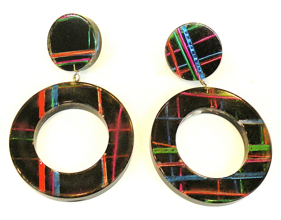 Hot Colored Plaid on Black Drop Hoop Earrings