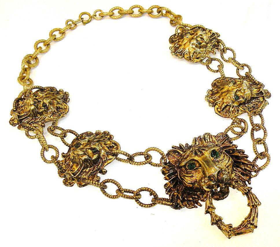 Gorgeous Green Eyed Lion Door Knocker Necklace