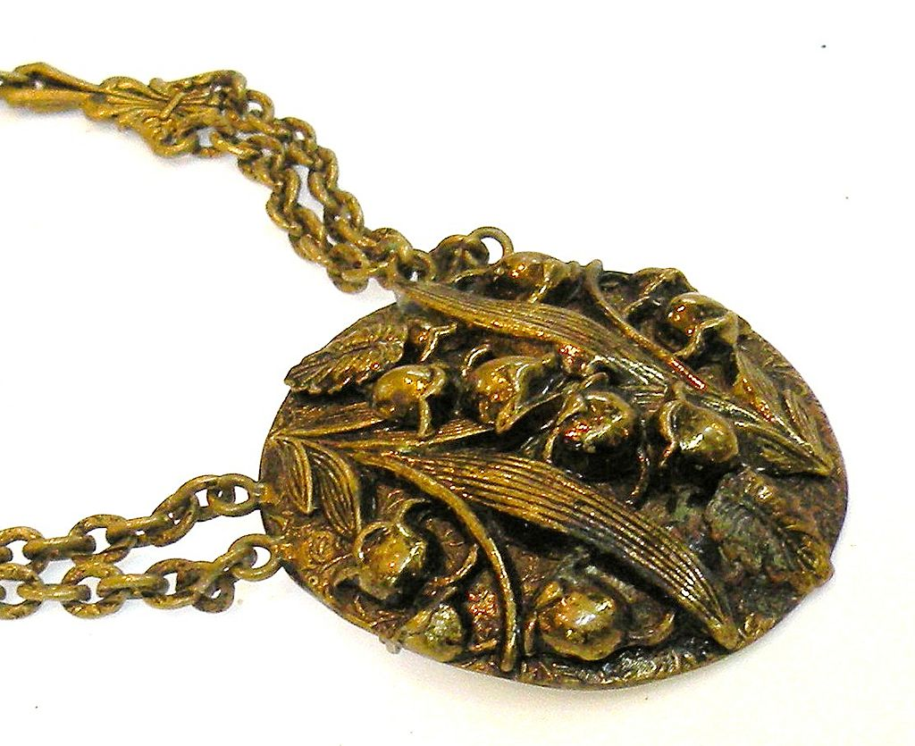 Early 1900s Repousee Deeply Carved Lily Design Brooch Pendant Necklace