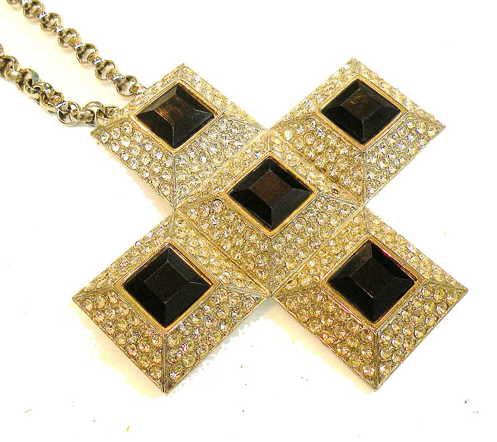CADORO Icy Rhinestone and Black Square Stone Cross Convertible Brooch Necklace