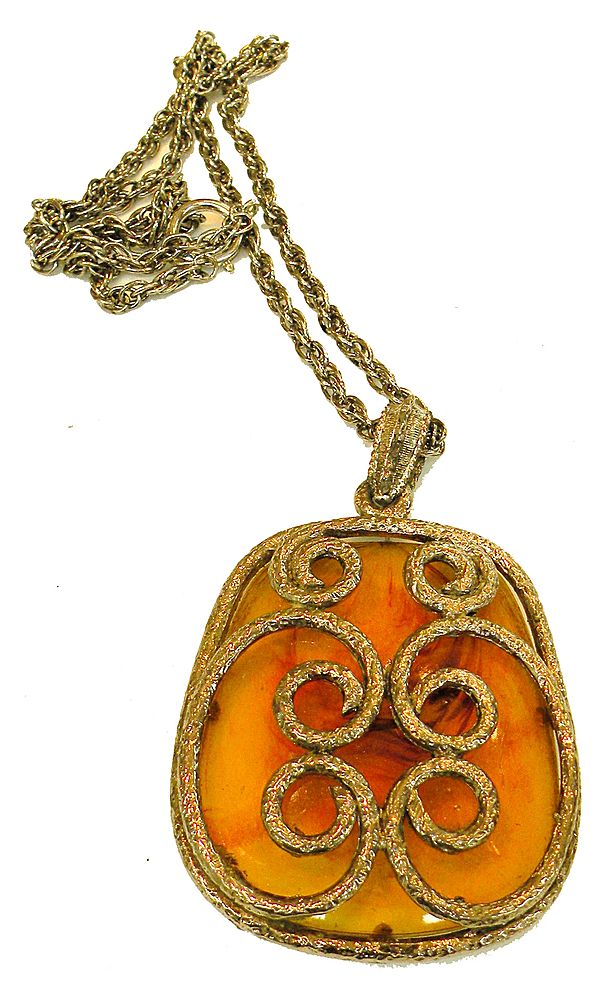 Huge Tortoise Lucite Etruscan Swirl Pendant Necklace