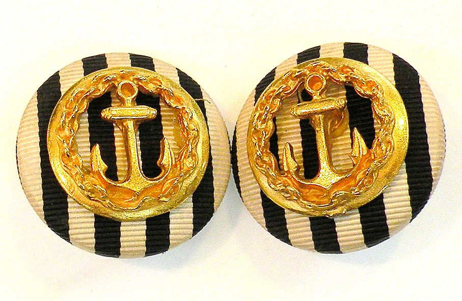 Fun Stripe Fabric and Anchor French Nautical Earrings