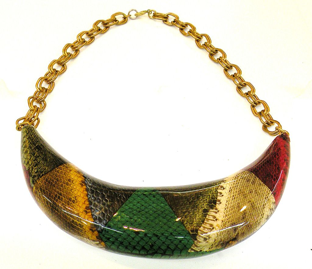 1970s Printed Animal Skin Boomerang Composite Necklace
