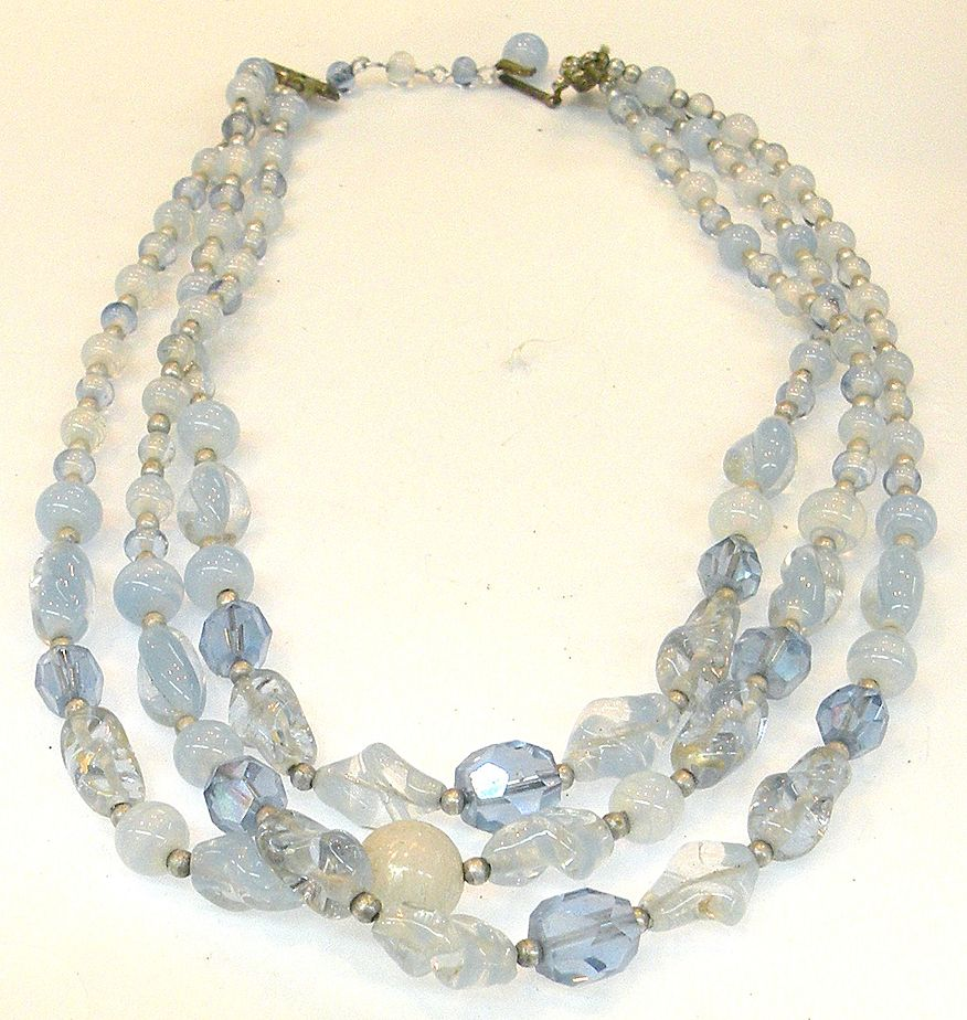 Beautiful Baby Blue Art Glass Triple Strand Necklace