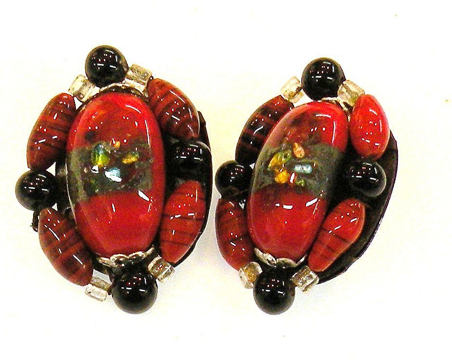 JAPAN Red and Black Studio Glass Bead Earrings