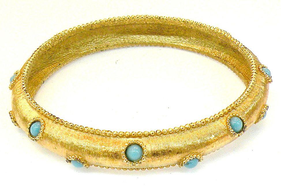 BOUCHER 8273 Turq Stone Brushed Finish Bangle Bracelet