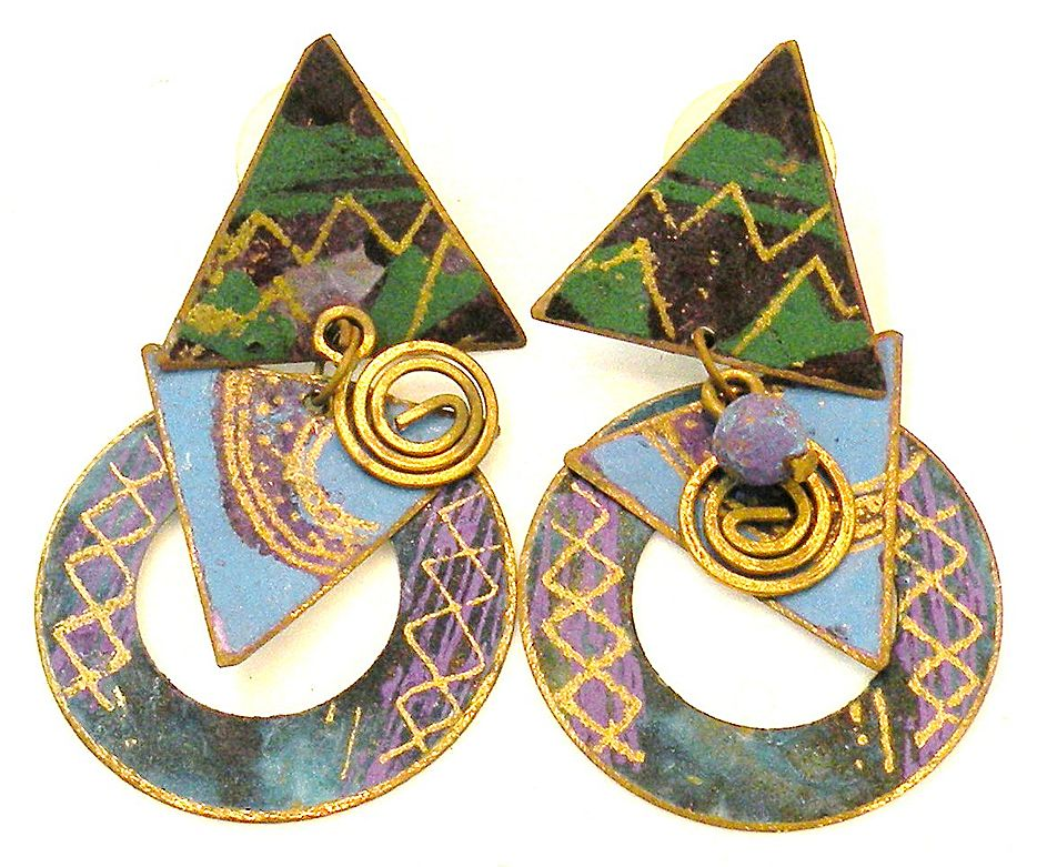 1970s Painted Copper and Bronze Mobile Earrings