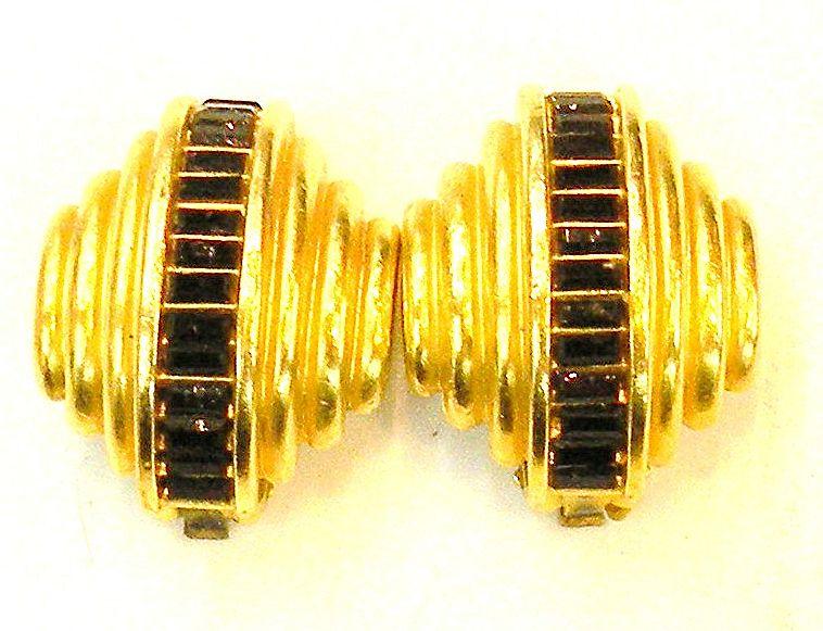 DIVA Black Baguette Sculptural Earrings with Matte Finish