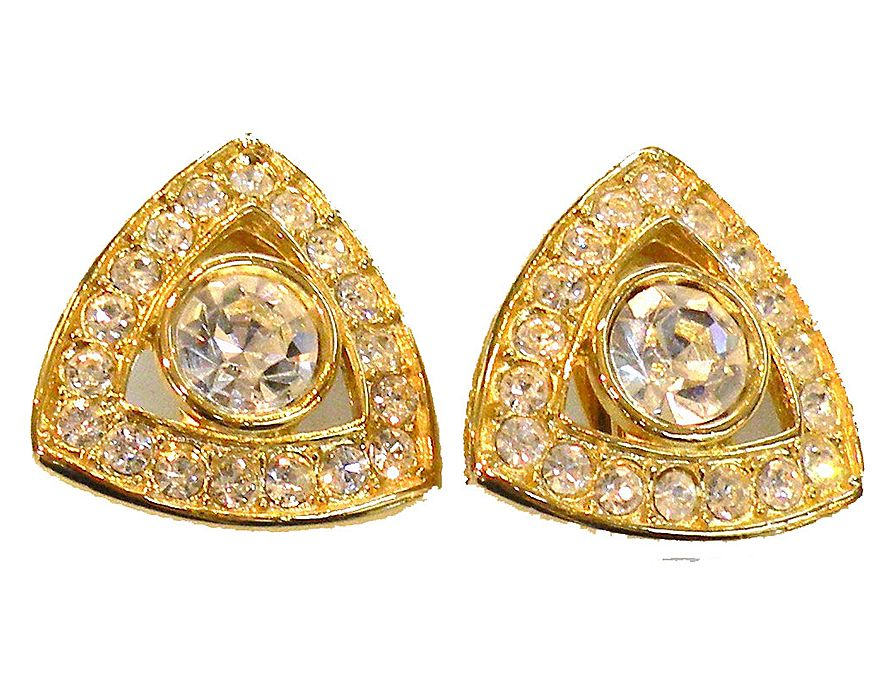 Rounded Triangular Headlight and Rhinestone Earrings