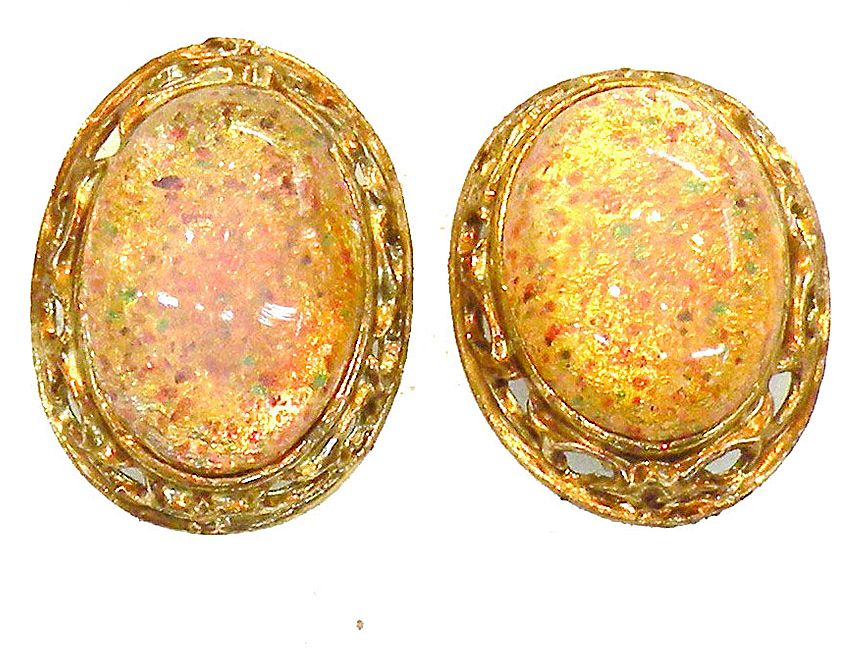 Dragon Opal Speckled Rhinestone Earrings in Baroque Setting