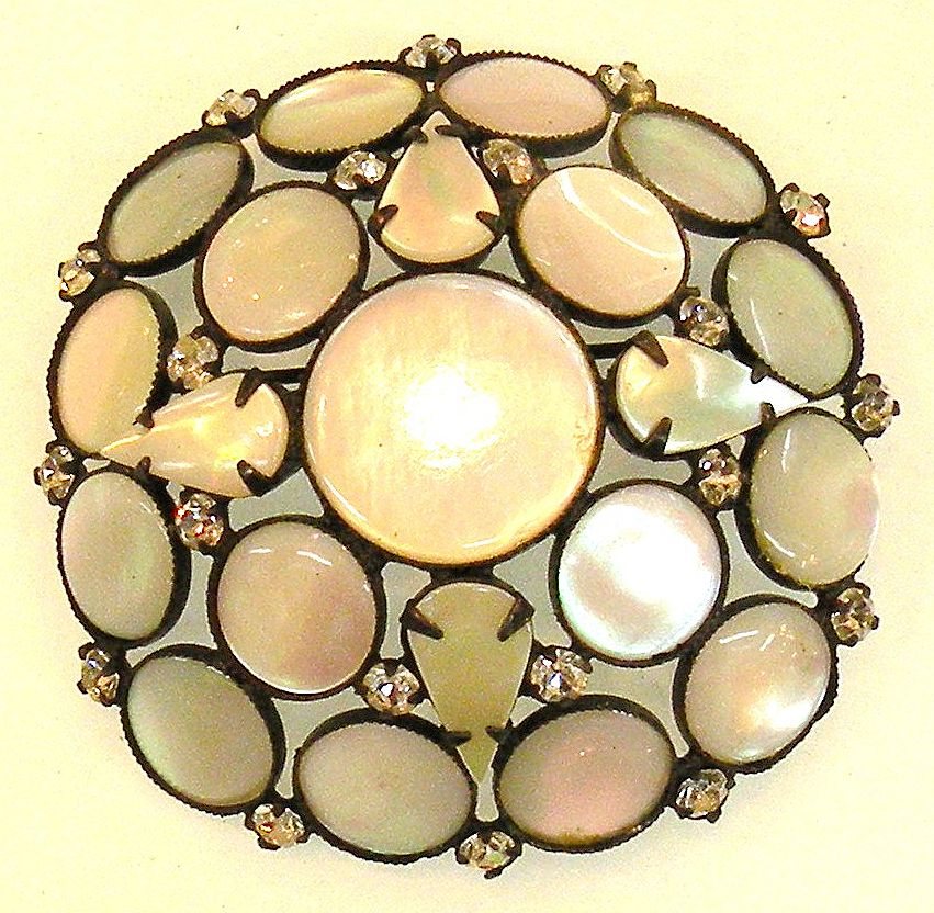 HATTIE CARNEGIE Mother of Pearl and Rhinestone Japanned Back Brooch