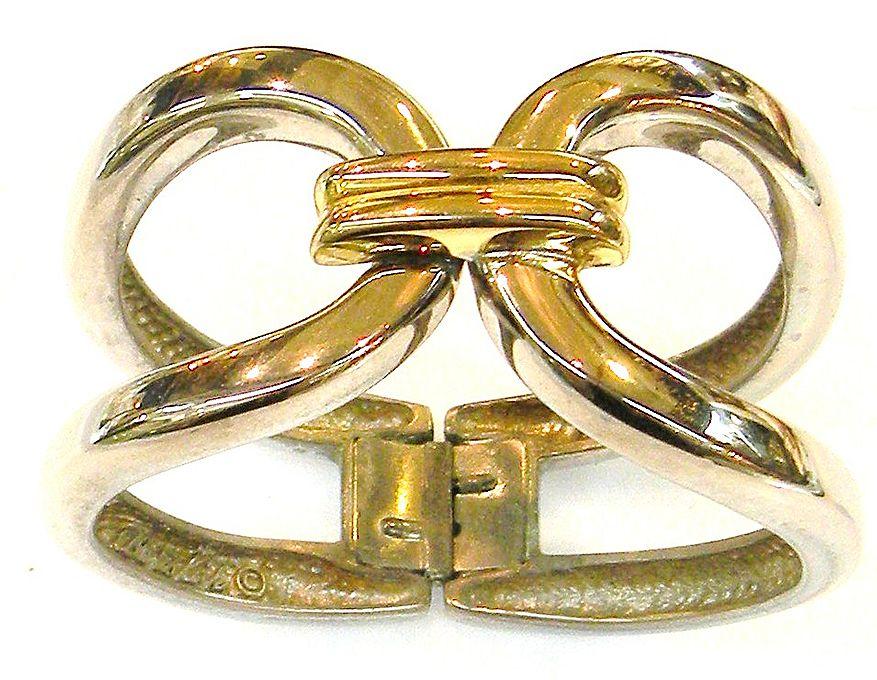 ALEXIS KIRK Two Tone Metal Sculptural Modernist Hinged Clamper Bracelet
