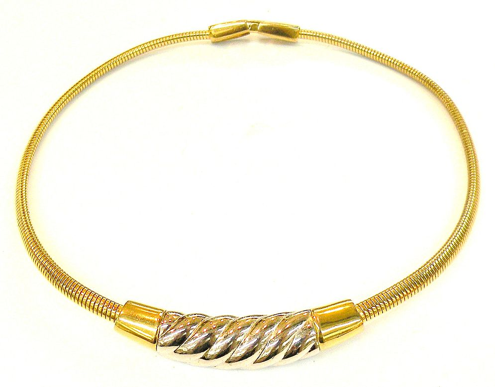 GIVENCHY 1976 Delicate and Feminine Two Tone Snake Coil Collar Necklace