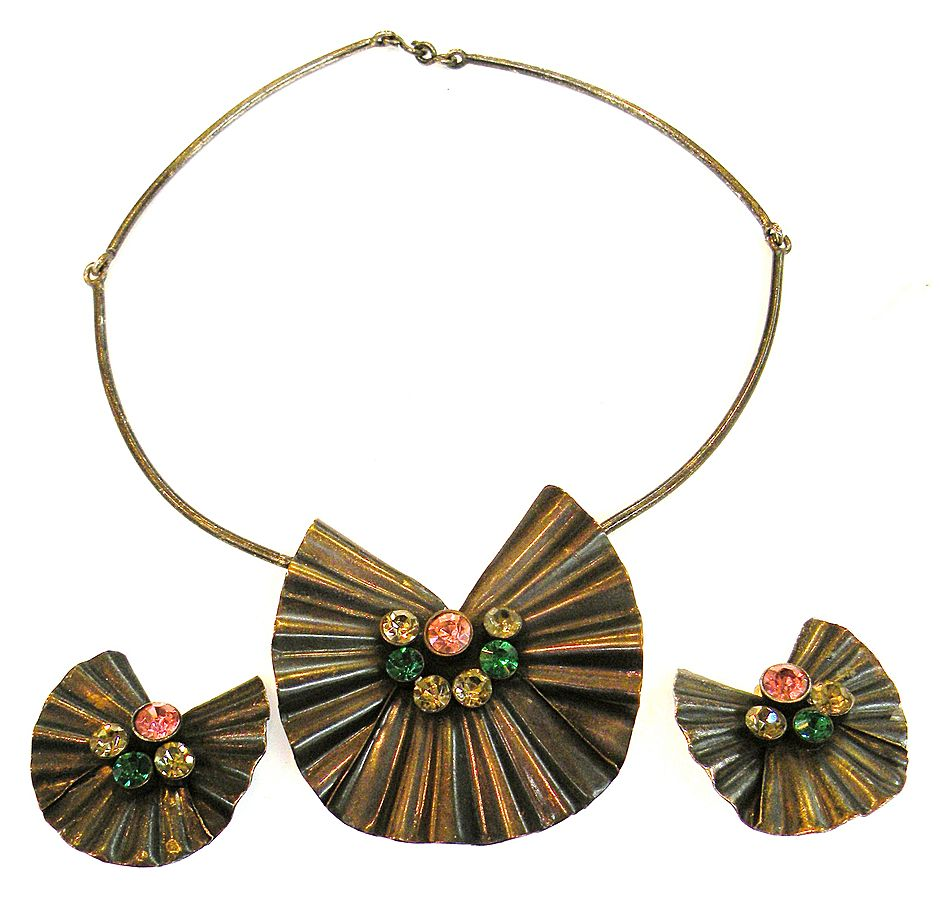 French Ruffled Copper Necklace and Earrings with Multi Color Rhinestones