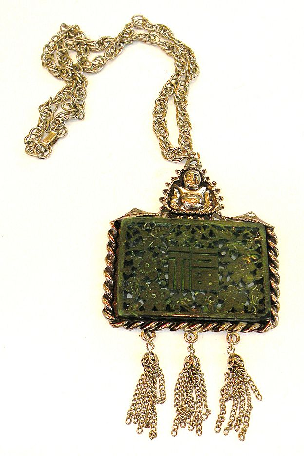 Asian Inspired Dark Green Carved Pendant Necklace with Buddha and Tassels