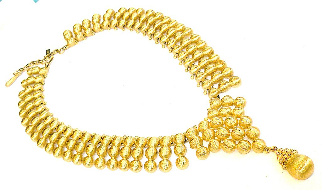 MONET Imperial Brushed Gold Tone Metal Triple Bead Effect Drop Necklace