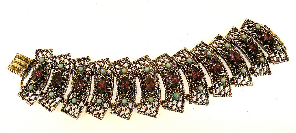 Fancy Filigree Fan Like Articulated Bracelet with Purple and Turq Stones
