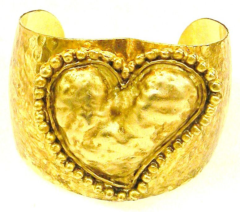 1970s Hammered Cuff with Applied Puffy Heart Front Detail