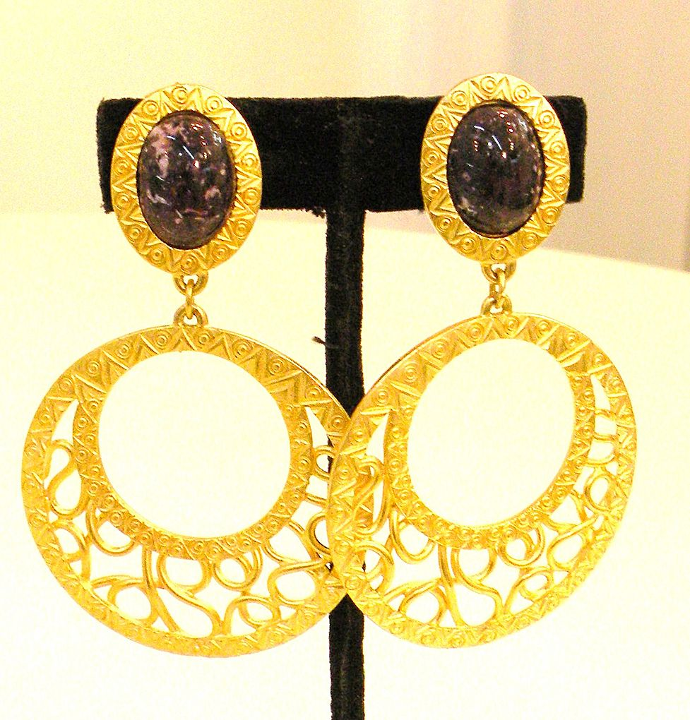 Etruscan Revival Matte Gold Tone Double Drop Earrings with Mottled Purple Stone