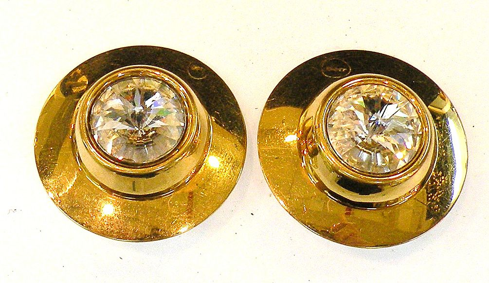 Faceted Headlight Hubcap Disc Earrings