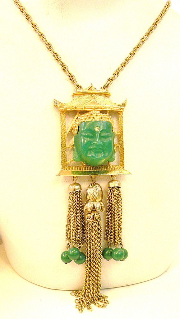 Framed Green Resin Buddha Face with Rhinestone and Tassel Pendant Necklace