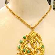 DOMINIQUE AURIENTIS Paris Ugly Duckling with Green Cabochons Pendant Necklace