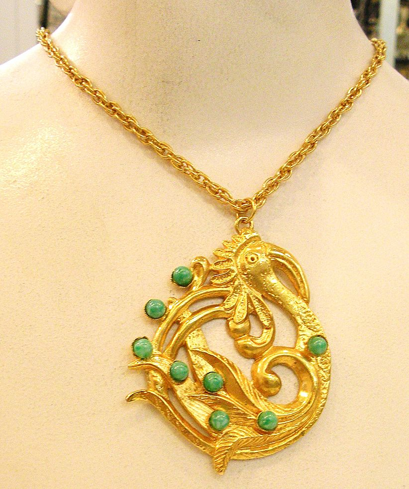 DOMINIQUE AURIENTIS Paris Ugly Duckling with Green Cabochons Pendant Necklace