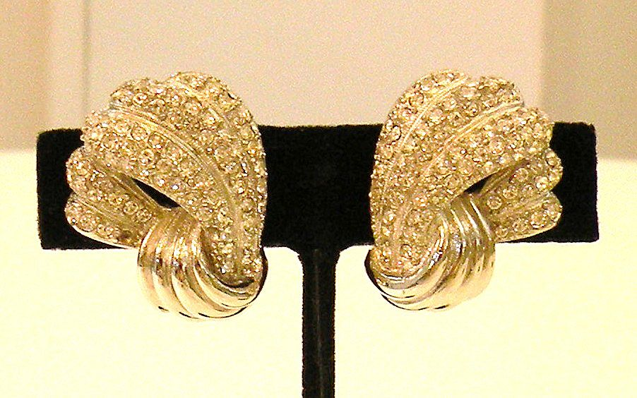 GIVENCHY Pave Rhinestone Waving Fan Design Dramatic Earrings