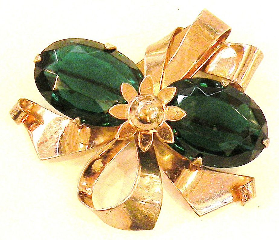 1940s Rose Wash Sterling Bouquet Brooch with Large Faceted Deep Green Rhinestones