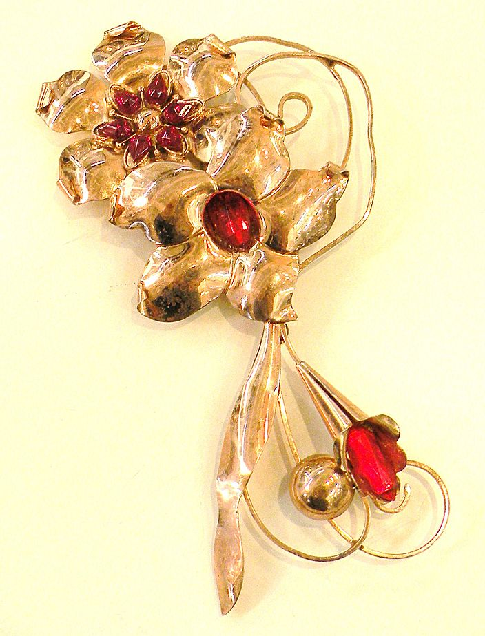 TRUART STERLING Rose Washed Red Rhinestone 1940s Giant Floral Brooch