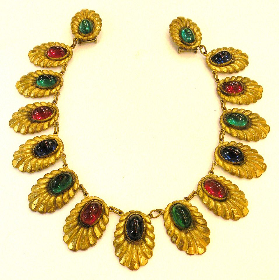 Early 1920s-30s Mogul Colored Cabochon Cushioned Chatelaine