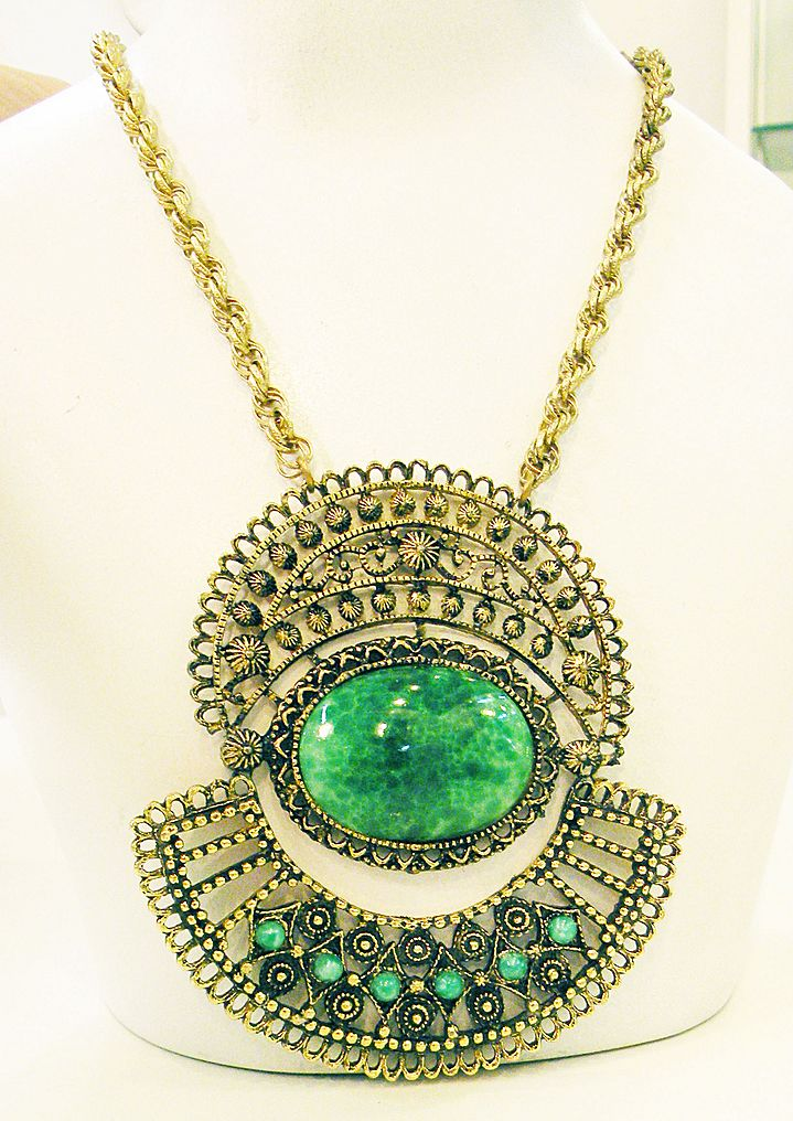 Persian Influence Green Cabochon Giant Medallion Pendant Necklace