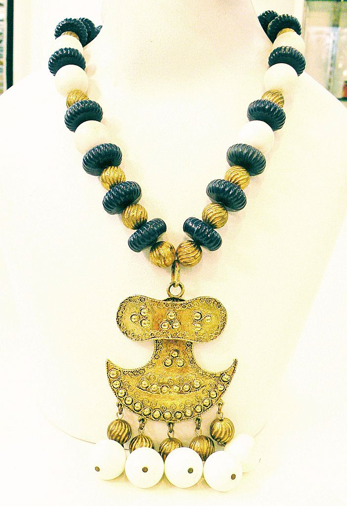 Navy White and Brass Beaded Etruscan Revival Pendant Necklace