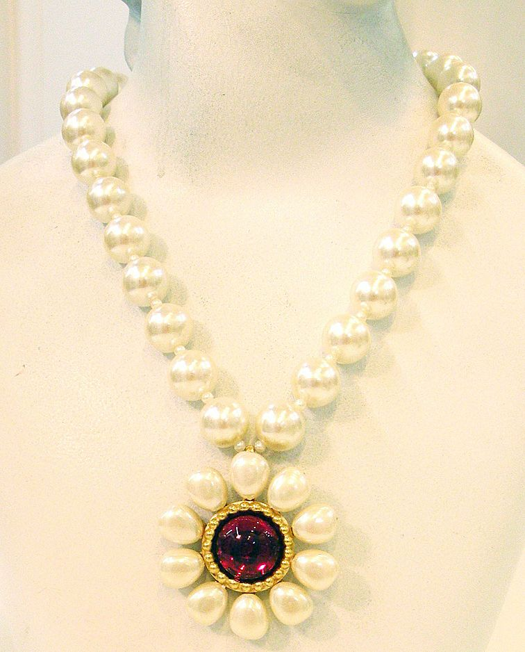 CAROL DAUPLAISE Imitation Pearl and Red Cabochon Daisy Drop Necklace
