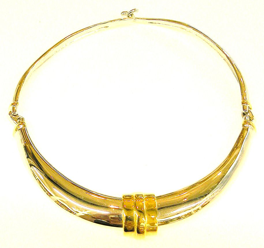 ALEXIS KIRK Two Tone Metal Modernist Hinged Collar Necklace