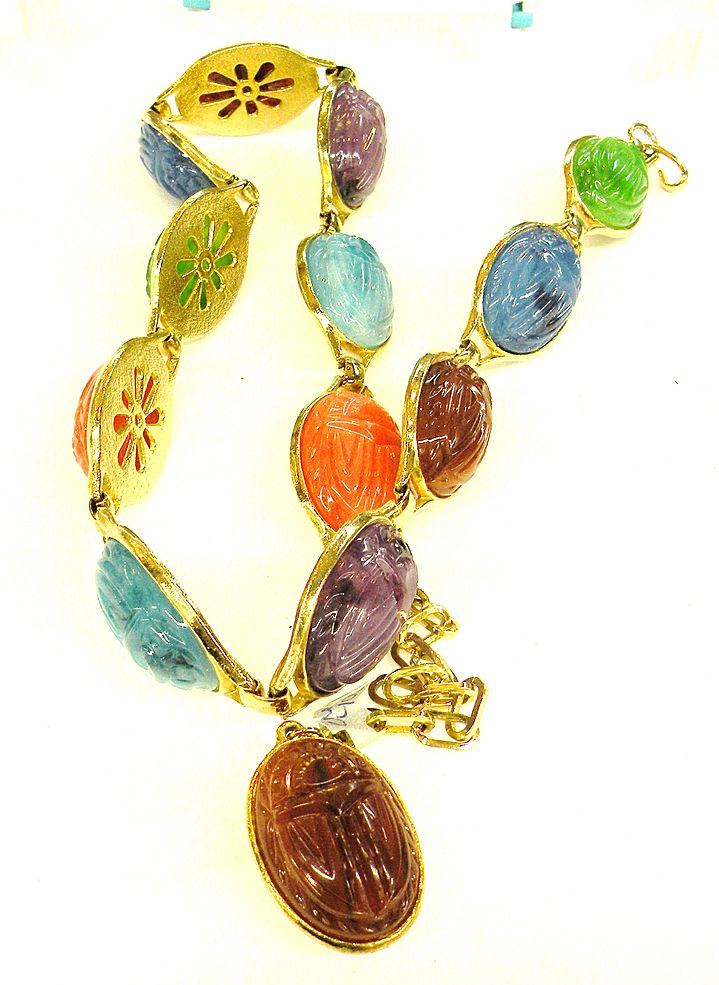 Multi Colored Scarab Cabochon Link Belt