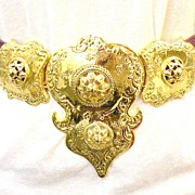 ALEXIS KIRK Purple Skin Gold Tone Metal Etruscan Revival Massive Buckle Belt