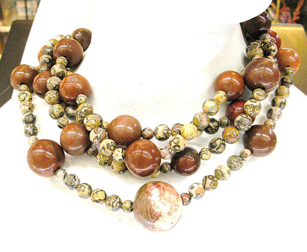 JAY FEINBERG (aka Strongwater) Four Strand Agate and Carnelian Colored Necklace