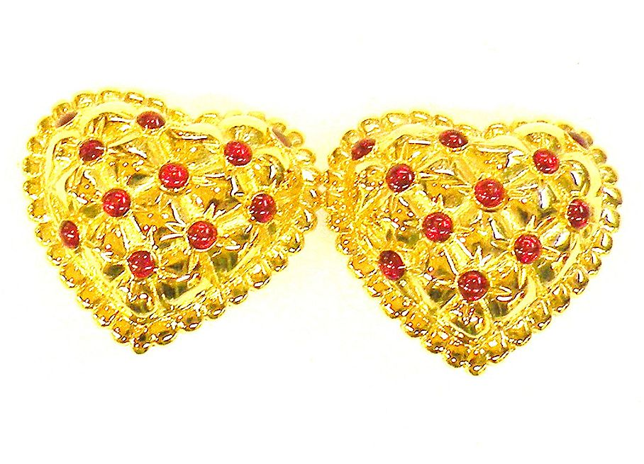 ALEXIS KIRK Heart Shaped Cushioned Red Cabochon Earrings