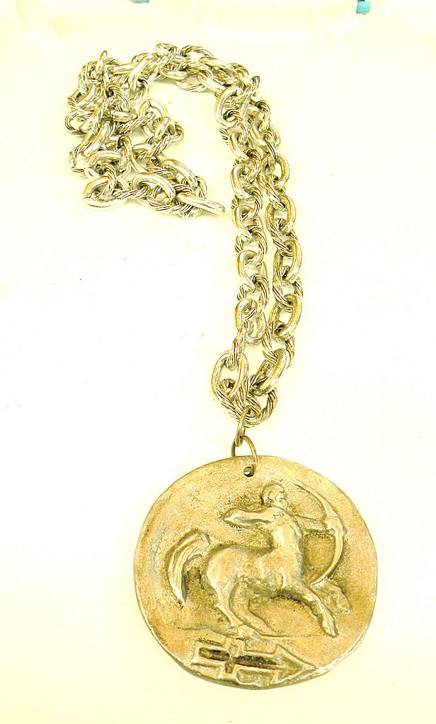 Centaur Reversible Pendant Necklace with Numeral Four on Back